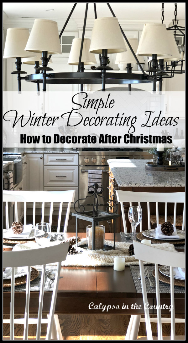 White kitchen chairs at cherry table - Simple Winter Decorating Inspiration
