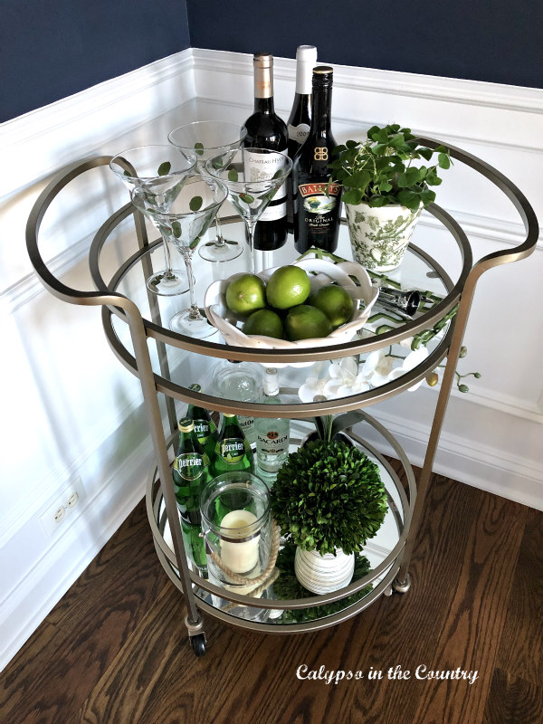 Simple Ideas for decorating with green on a bar cart