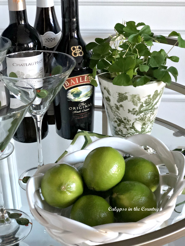 Bar Cart styled with limes and green shamrocks
