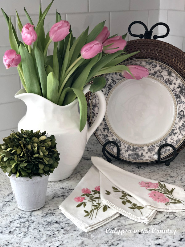 Pink Tulips in white pitcher - vintage Valentine's Day vignettes