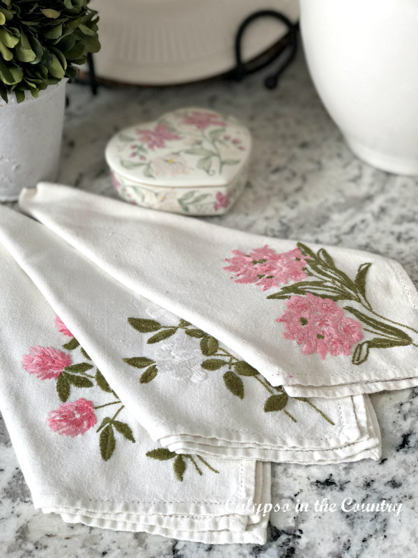 Valentine's Day Vignettes - vintage embroidered floral napkins