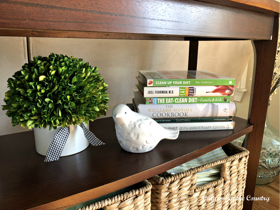Green books on console shelves