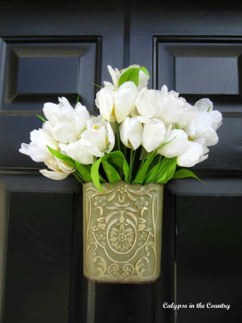 white tulips on front door