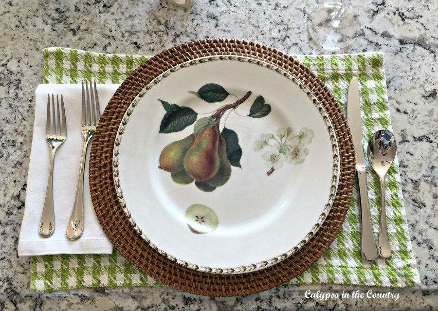 fruit plate on checked place mat