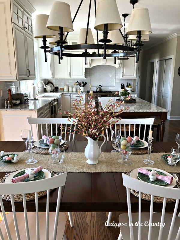 Easter Table in white kitchen