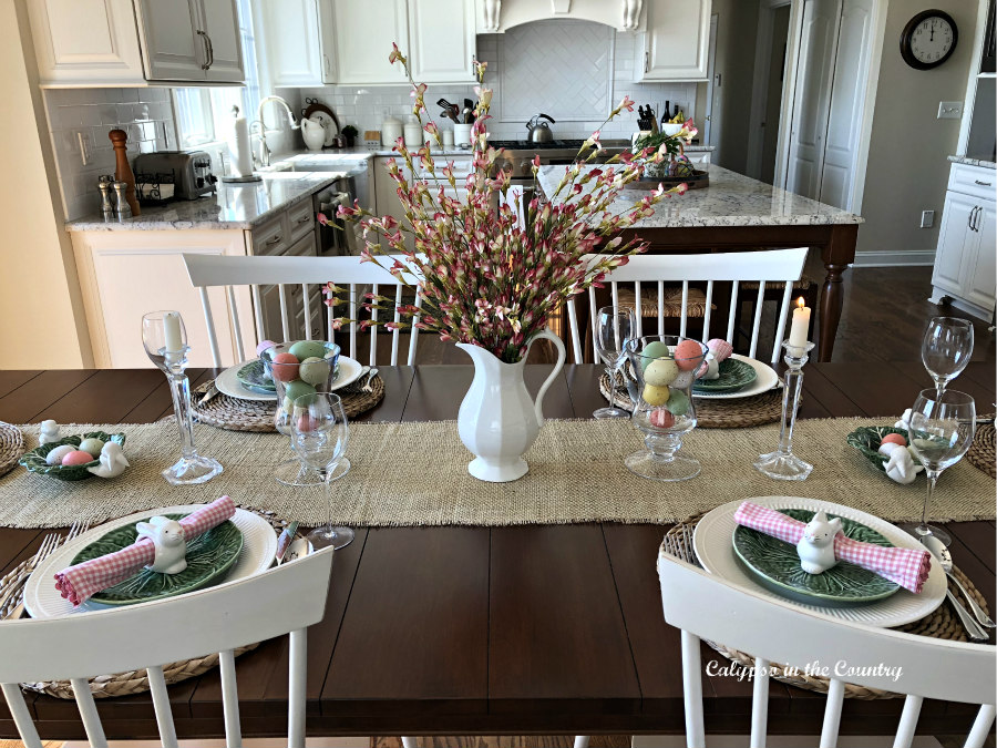 Festive Easter Table in white kitchen
