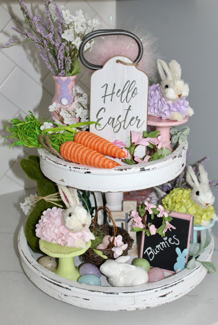 Spring Decor and Bunnies - Easter Tiered Tray