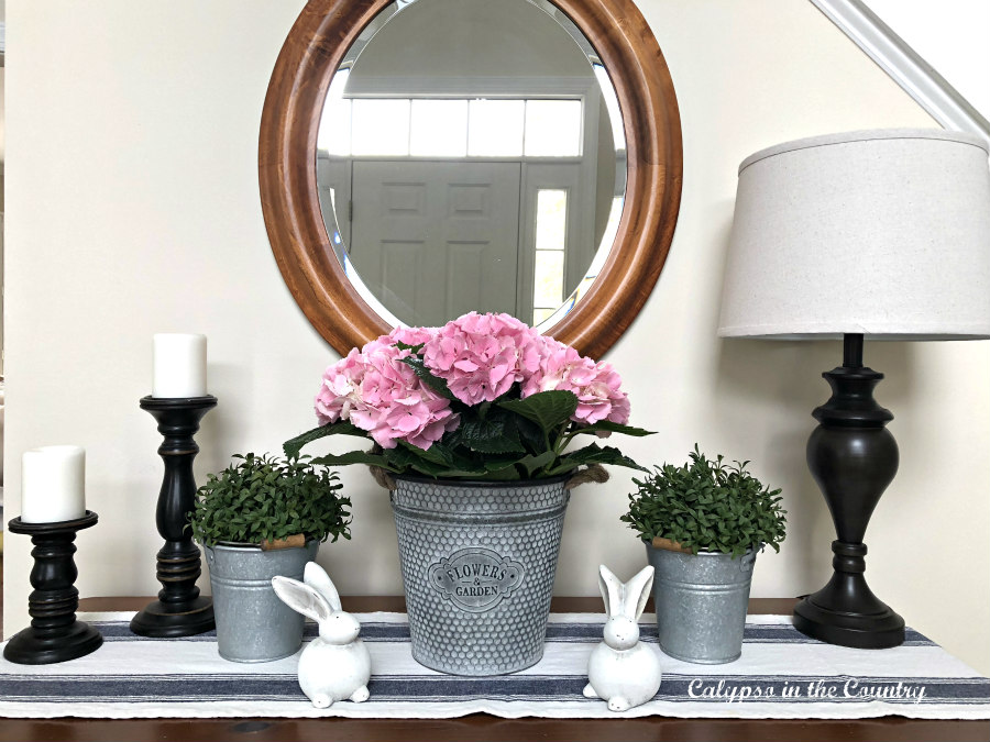 Foyer table with pink hydrangeas