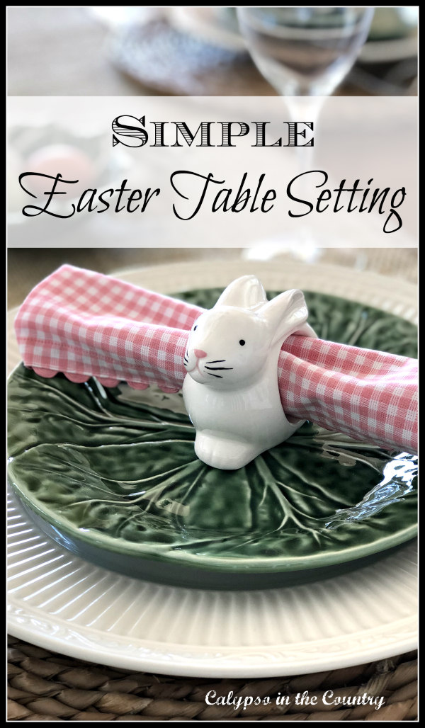 Simple Easter Table Setting with Bunnies