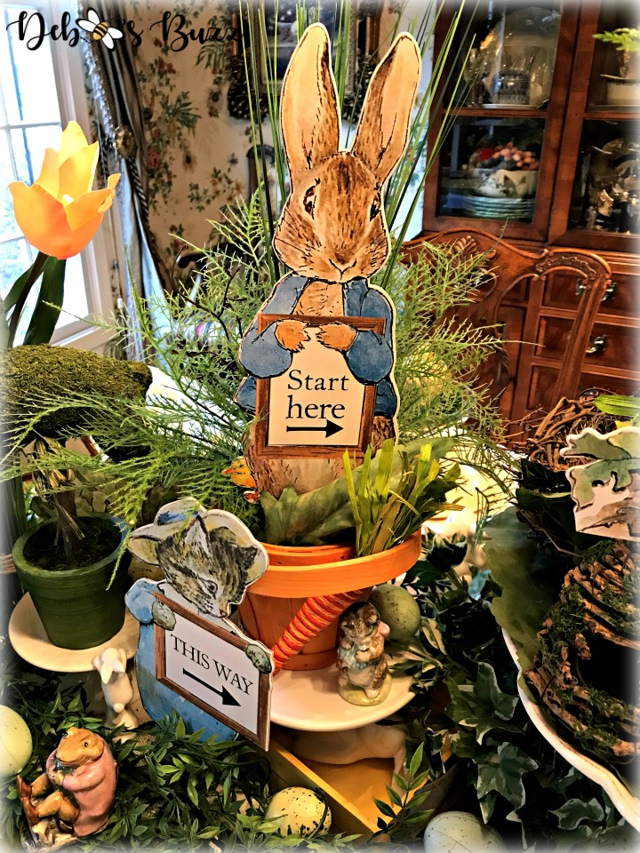 spring decor and bunnies