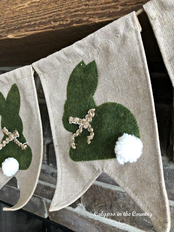 burlap bunny banner on mantel