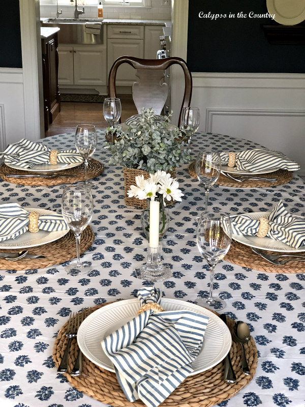 Mother's Day Table Setting with blue and white
