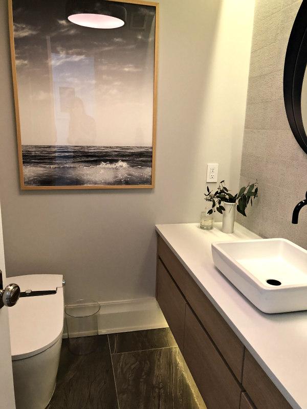 guest bathroom with floating vanity