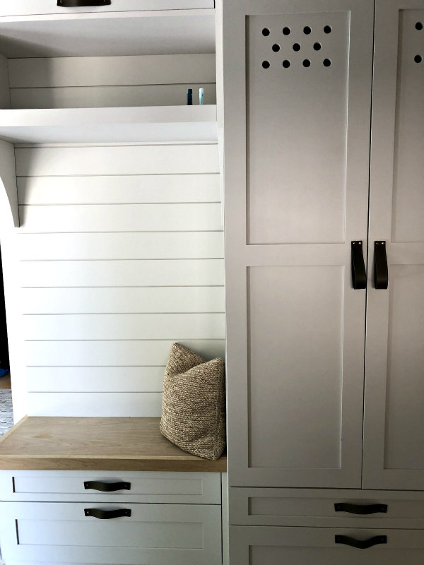 mudroom lockers and shiplap