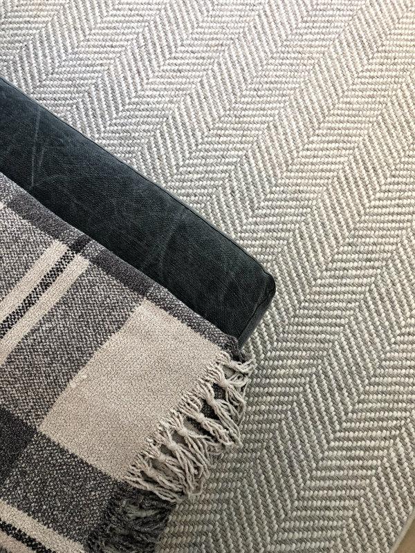 herringbone rug and plaid blanket