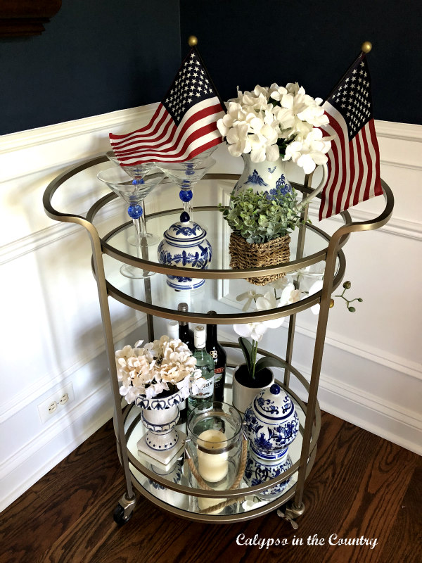 Patriotic Bar Cart with American Flags