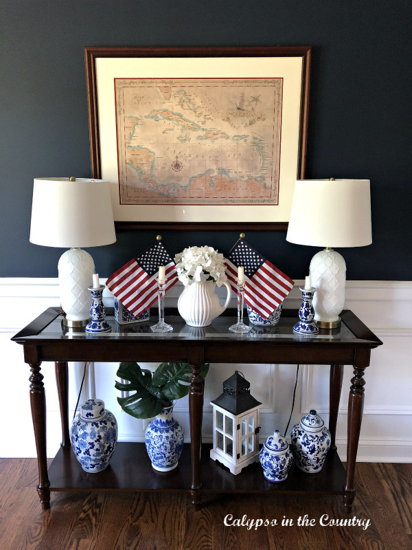 Red White and Blue on Dining Room Console Table