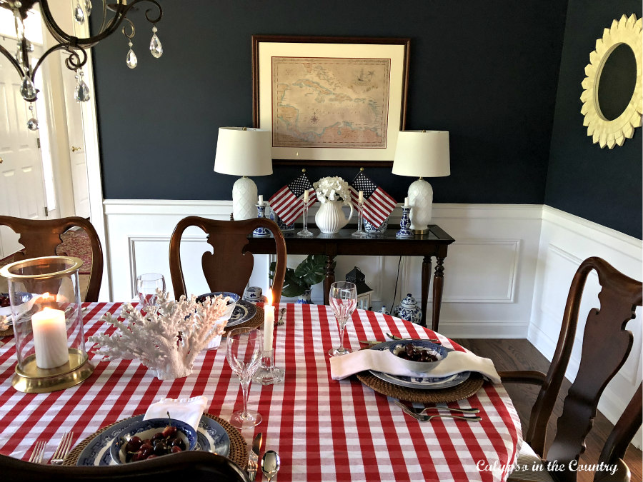 Patriotic Decor on dining room table and sideboard