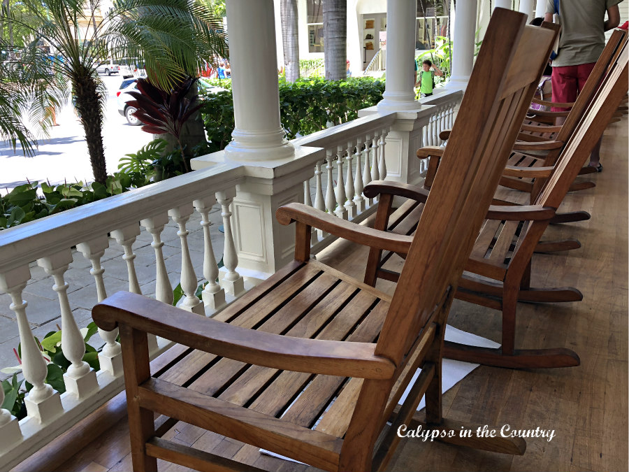 Wood Rocking Chairs on Porch