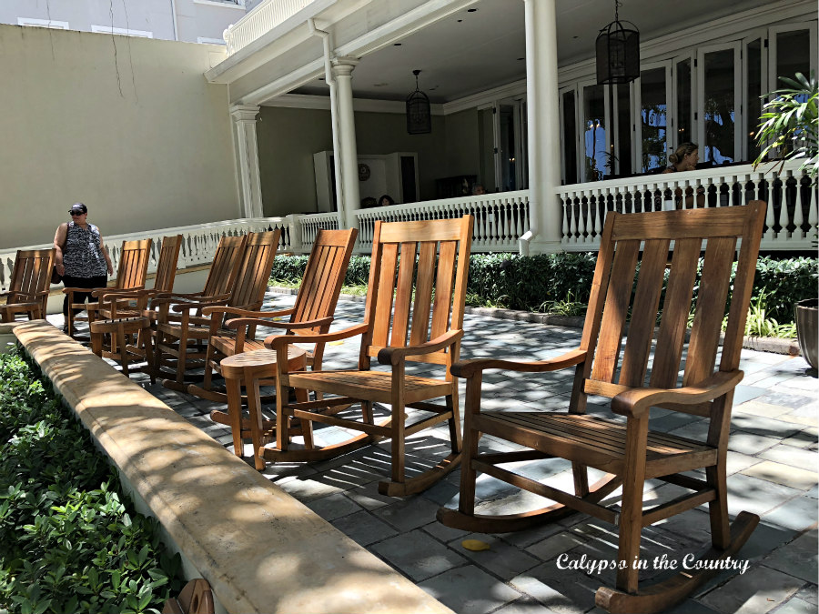 Row of Rocking Chairs on Patio