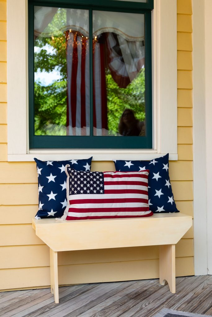 Bench with Patriotic Pillows