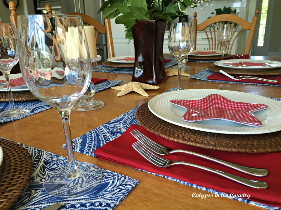 Flag Day Table Idea with Red white and blue
