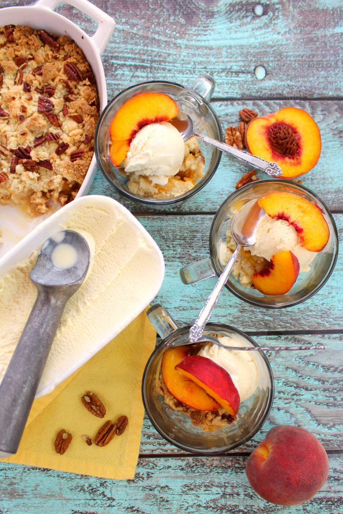 Ice Cream and Cake Mix Peach Cobbler Feature from Delightful E Made