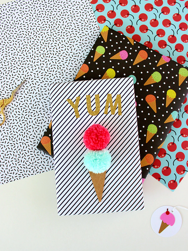 Pom Pom Ice Cream Gift Wrap from White House Crafts