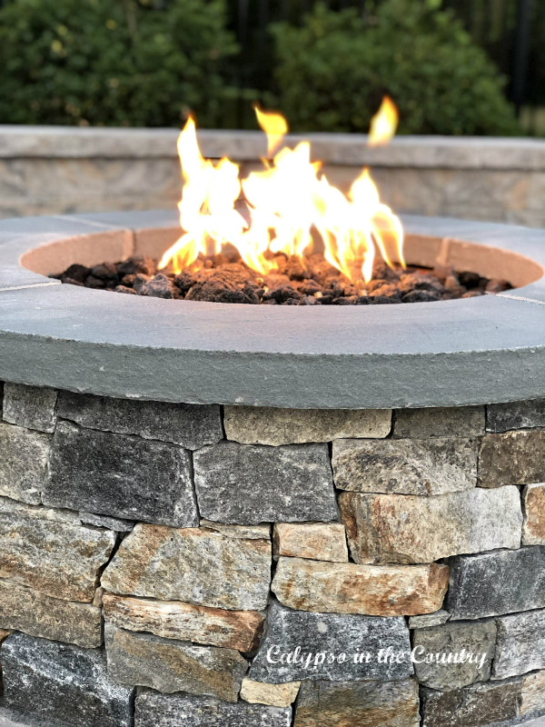 stacked stone firepit