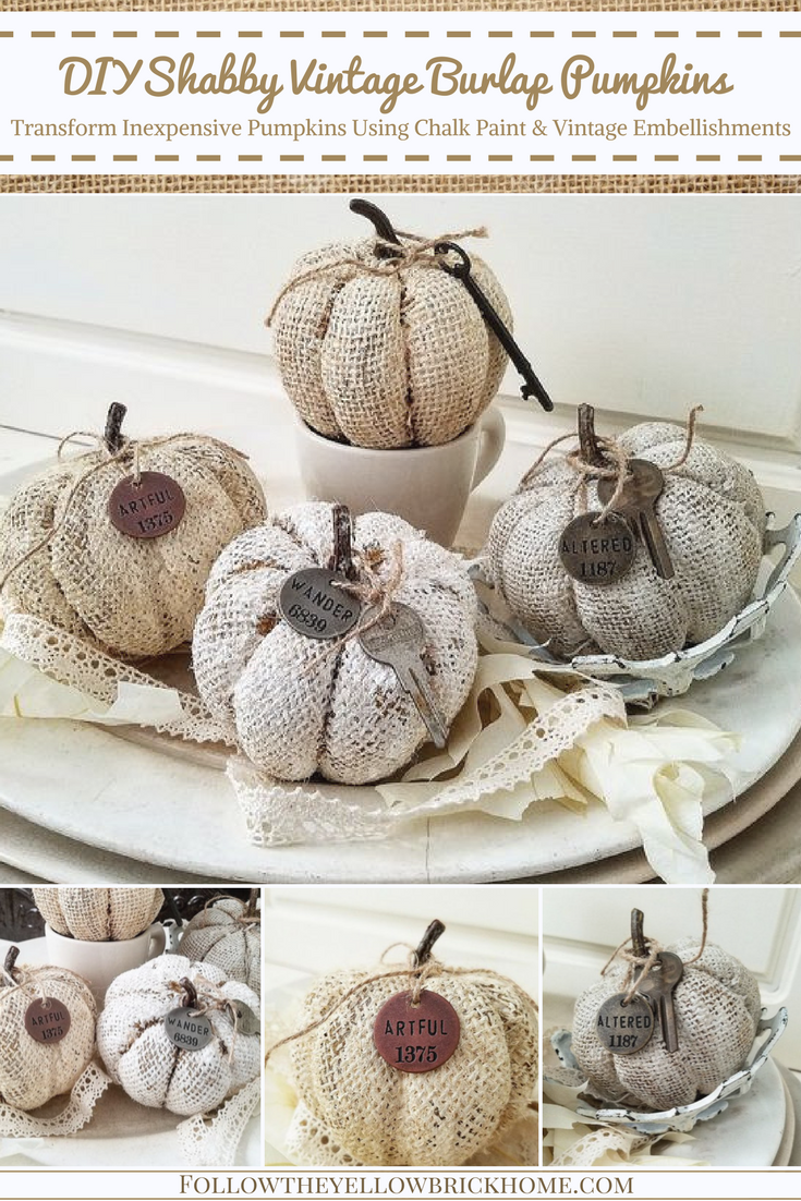 white burlap pumpkins for fall