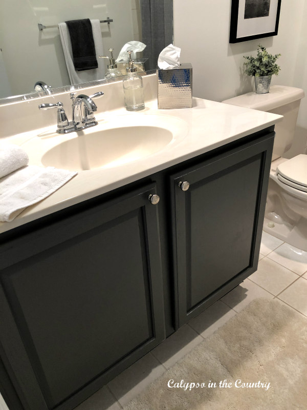 Painted Gray Vanity in Boys Bathroom Makeover