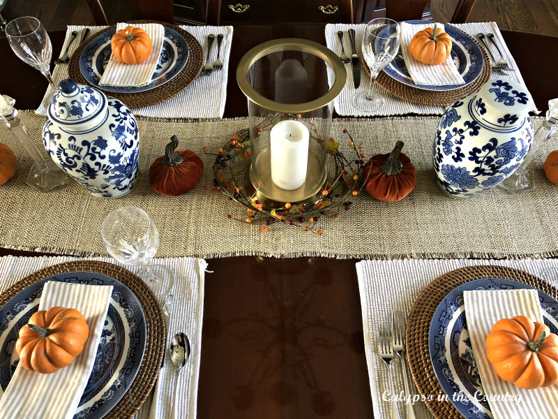 Blue and Orange Place settings for fall