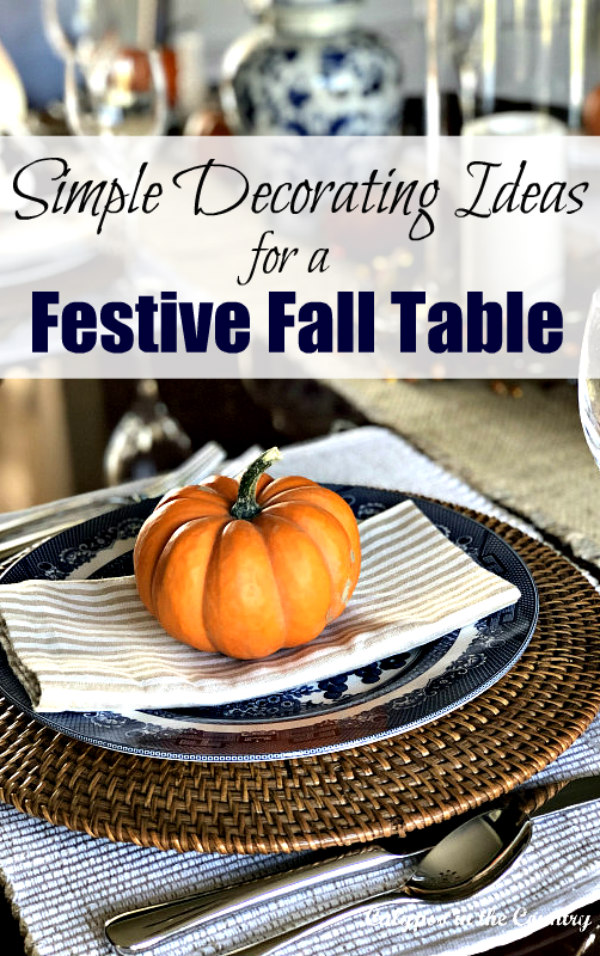 Festive Fall Table with Orange Pumpkins