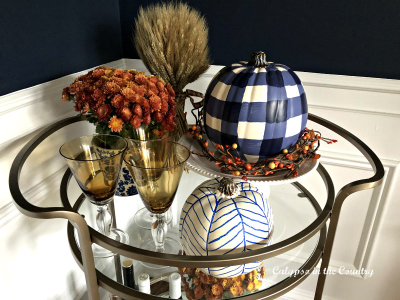 Orange and Navy bar cart decor