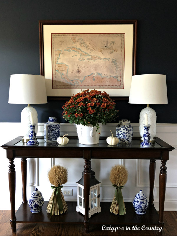 Fall Decor on console table - Embracing Fall in the Dining Room