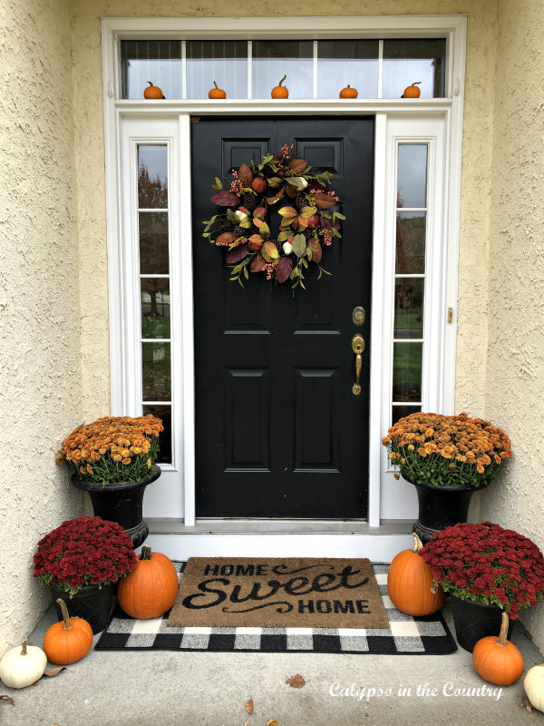 Fall Front Porch with mums and pumpkins
