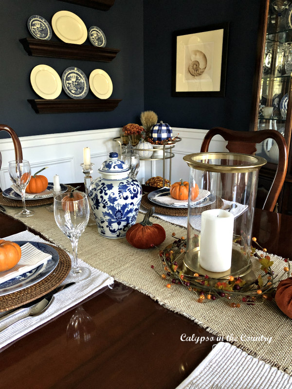 Sherwin Williams Naval painted dining room with fall decor