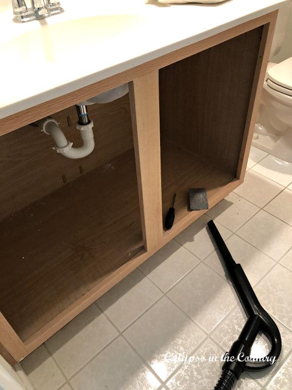 Oak Bathroom Vanity before painting
