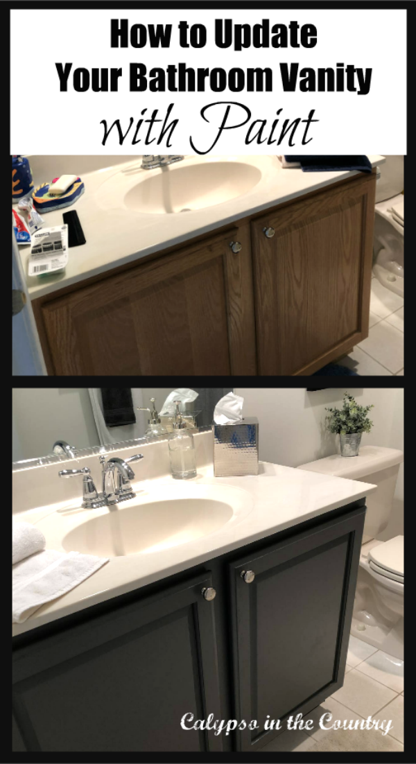 How to Paint a Bathroom Vanity - Before and After