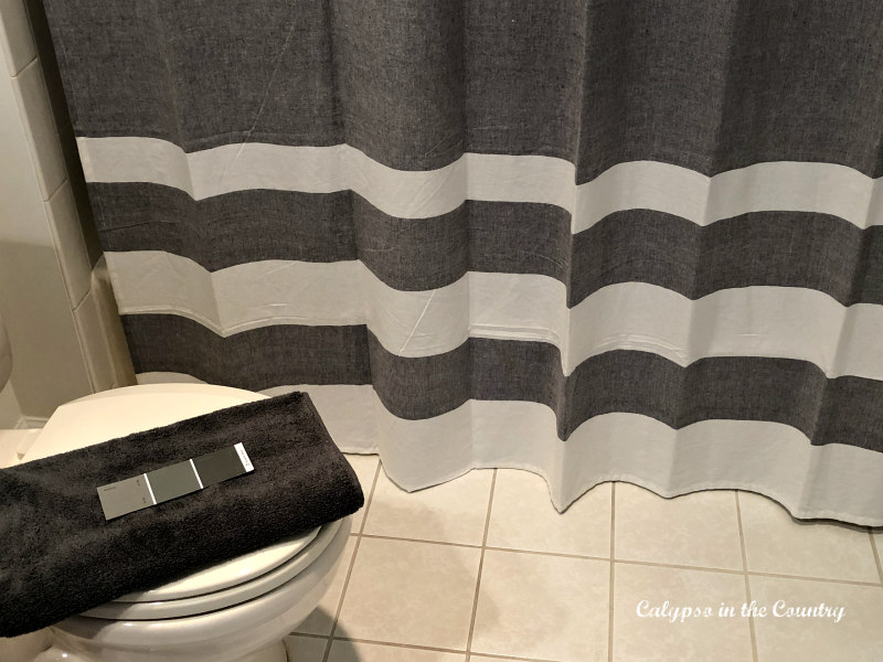 Gray paint swatches in the bathroom