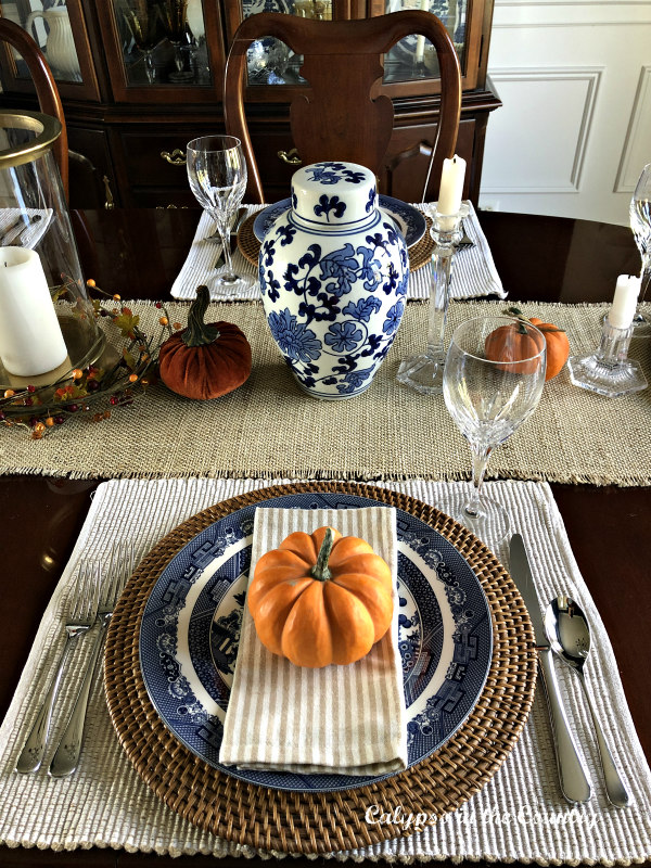 Blue and Orange fall place setting - fall decor in the dining room