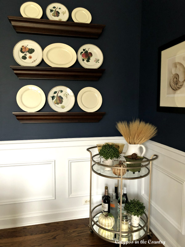 Bar Cart in Navy Dining Room - Warm and Cozy Thanksgiving Decor