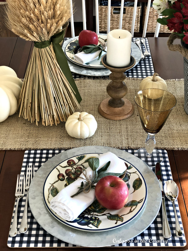 casual Thanksgiving place settings with apples and sage