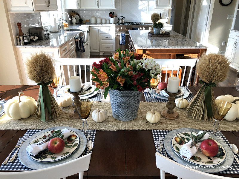 Casual Thanksgiving table in the kitchen