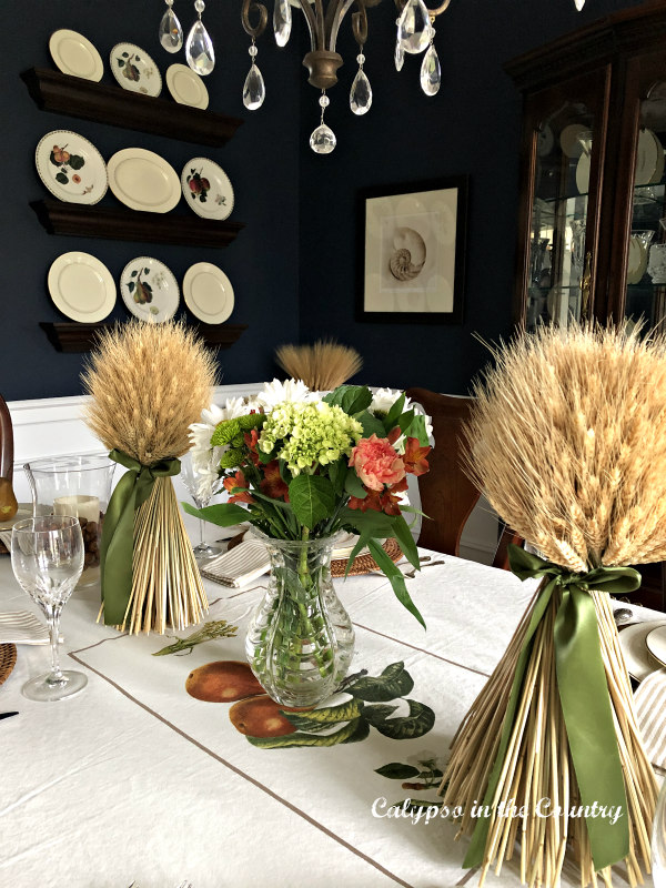 Flowers and Wheat down center of table