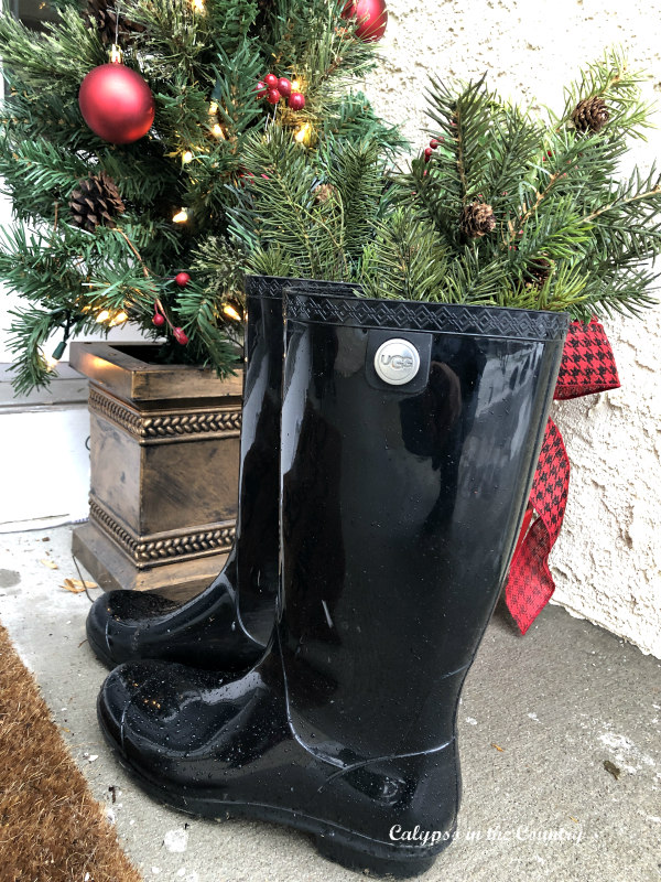 simple holiday decor - black boots