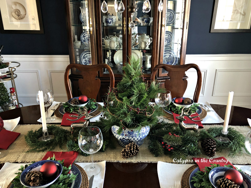 Blue and White Christmas table in dining room