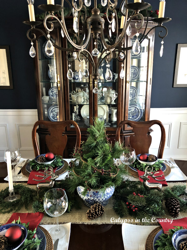 Navy Dining Room decorated for Christmas