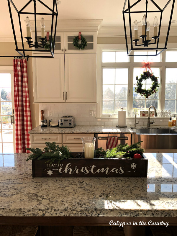 Classic white kitchen decorated for Christmas