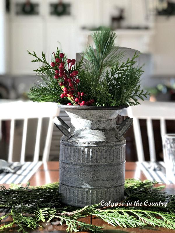farmhouse christmas decor - galvanized metal container for centerpiece